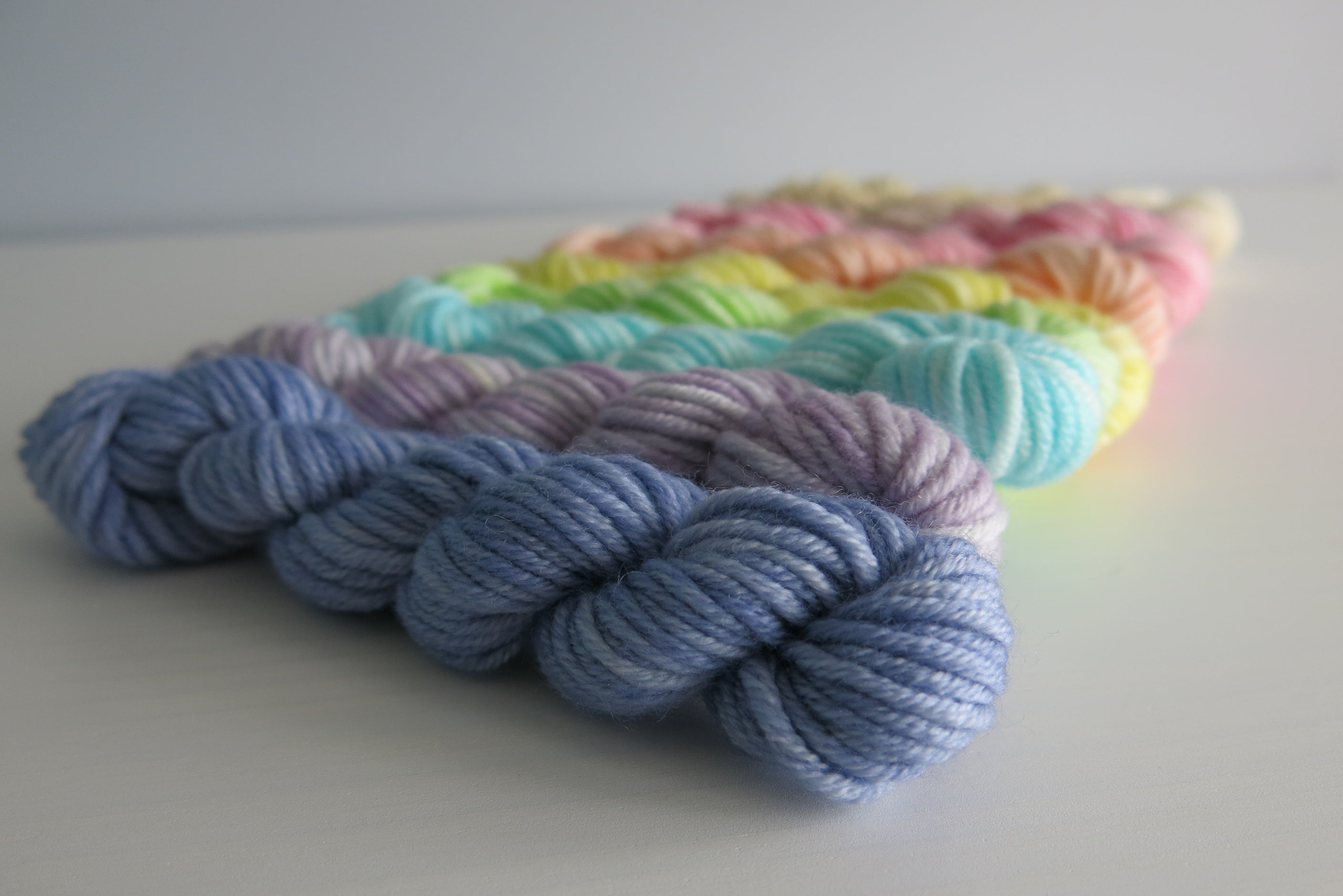 indie dyed merino dk yarn mini skein set in pastels