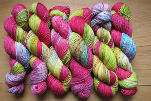 sockeye hand dyed speckles british bfl sock yarn skeins