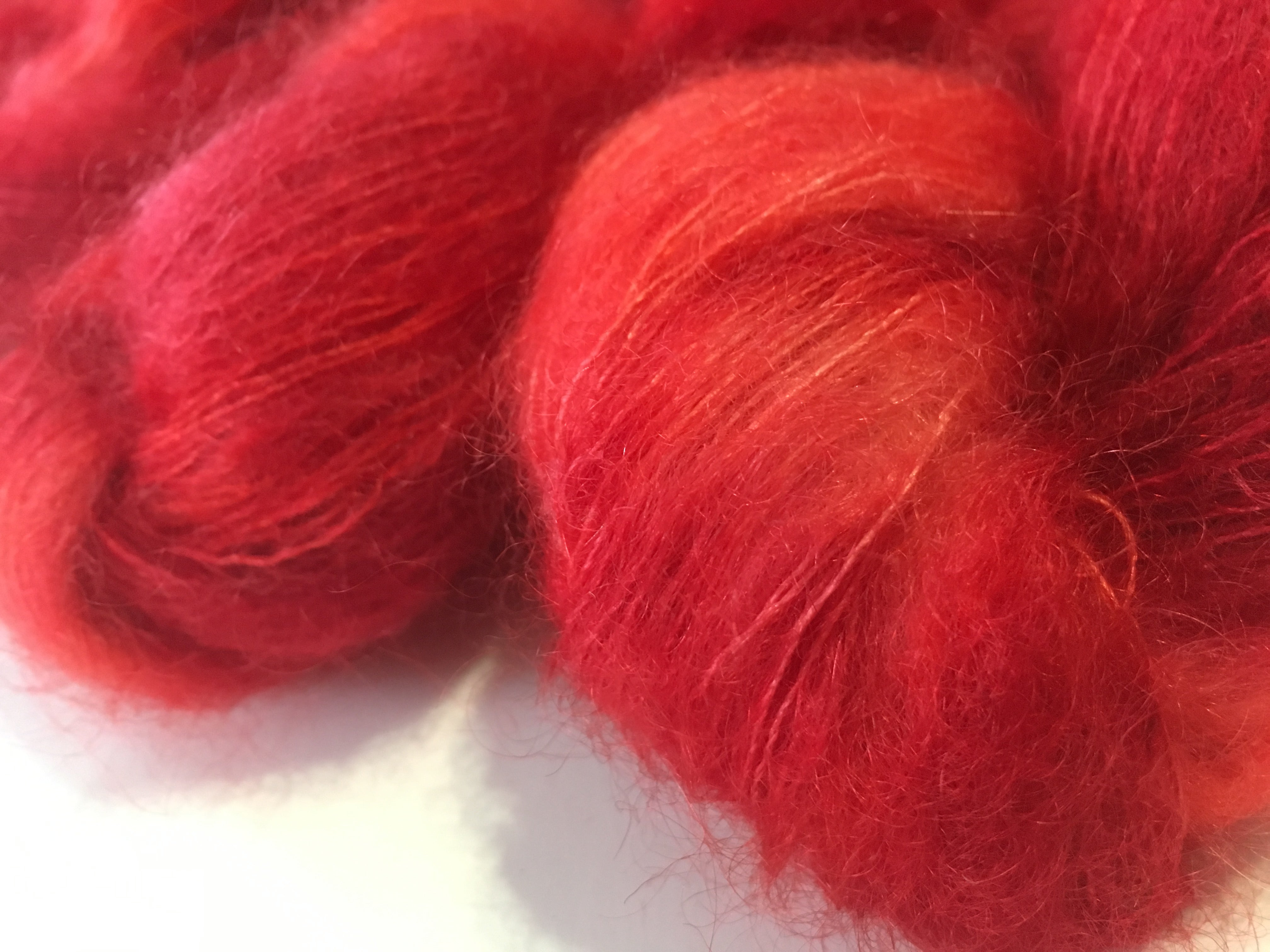float your goat mohair lace yarn in red for weaving, knitting and crochet