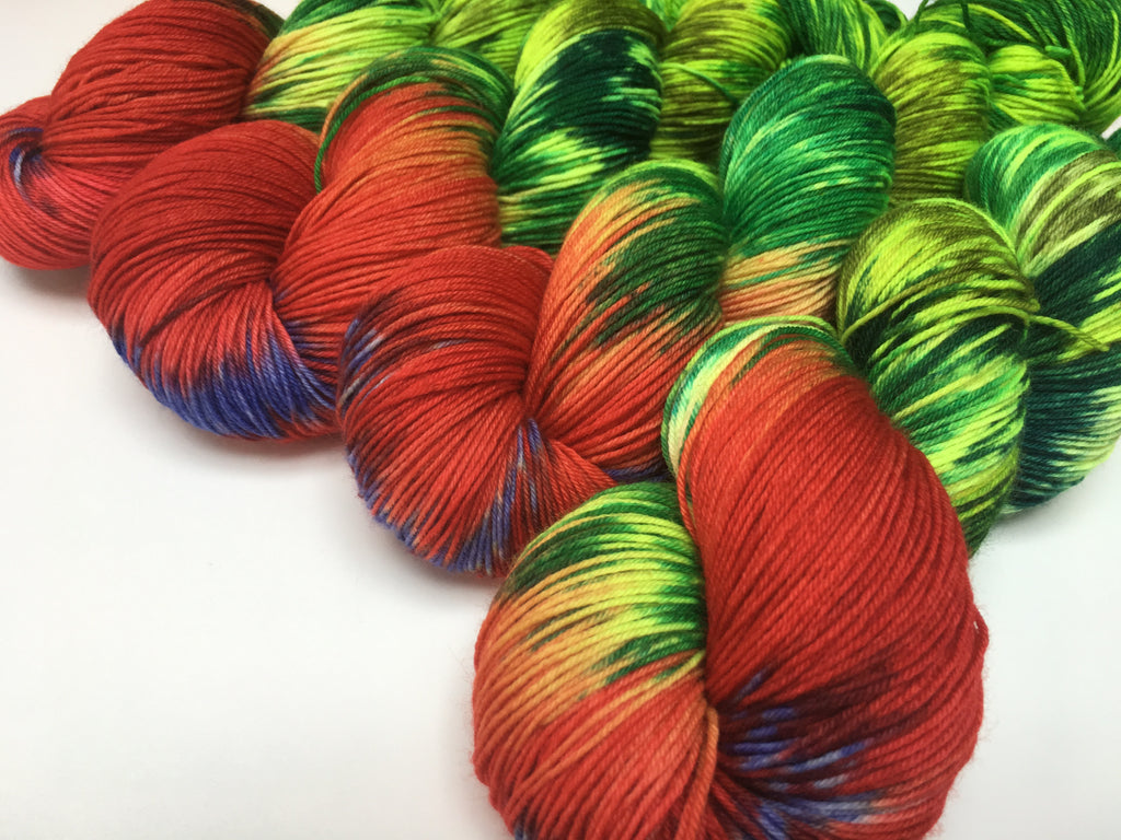 indied yed yarn inspired by the hungry caterpillar