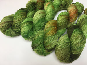 100g skeins of kettle dyed green sock yarn for crafts