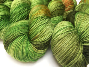 indie dyed green sock yarn skeins for knitting and crochet