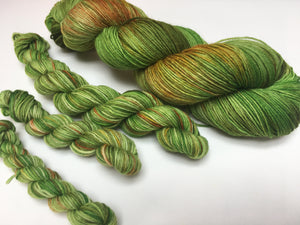 green hand dyed merino yarn skeins for knitting and crochet projects