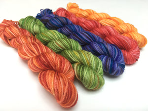 bright rainbow mini skein set for knitting and crochet