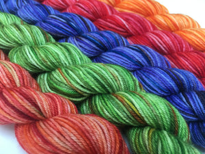 rainbow mini skein set in choufunga sock weight yarn