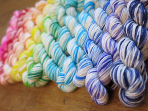 indie dyed bright rainbow mini skein sock yarn set