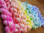 hand dyed vivid rainbow mini skeins on choufunga sock yarn