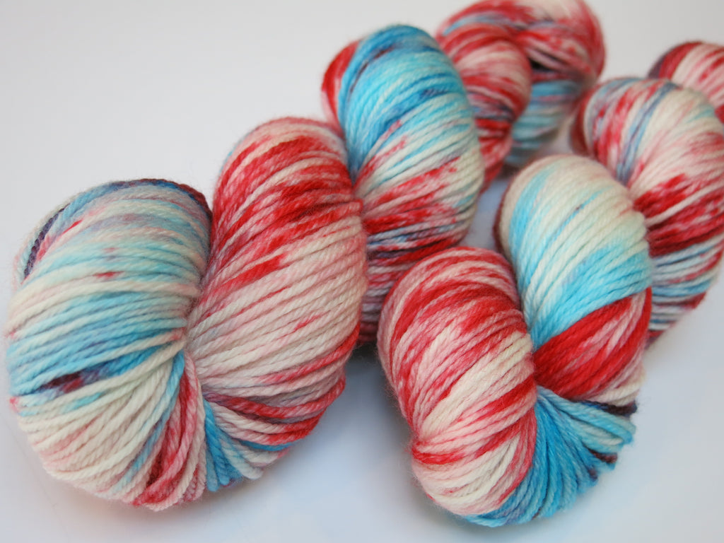 hand dyed red white and blue merino dk yarn skein