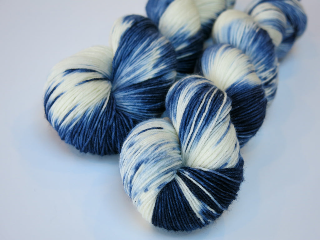 and dyed blue and white yarn for knitting and crochet