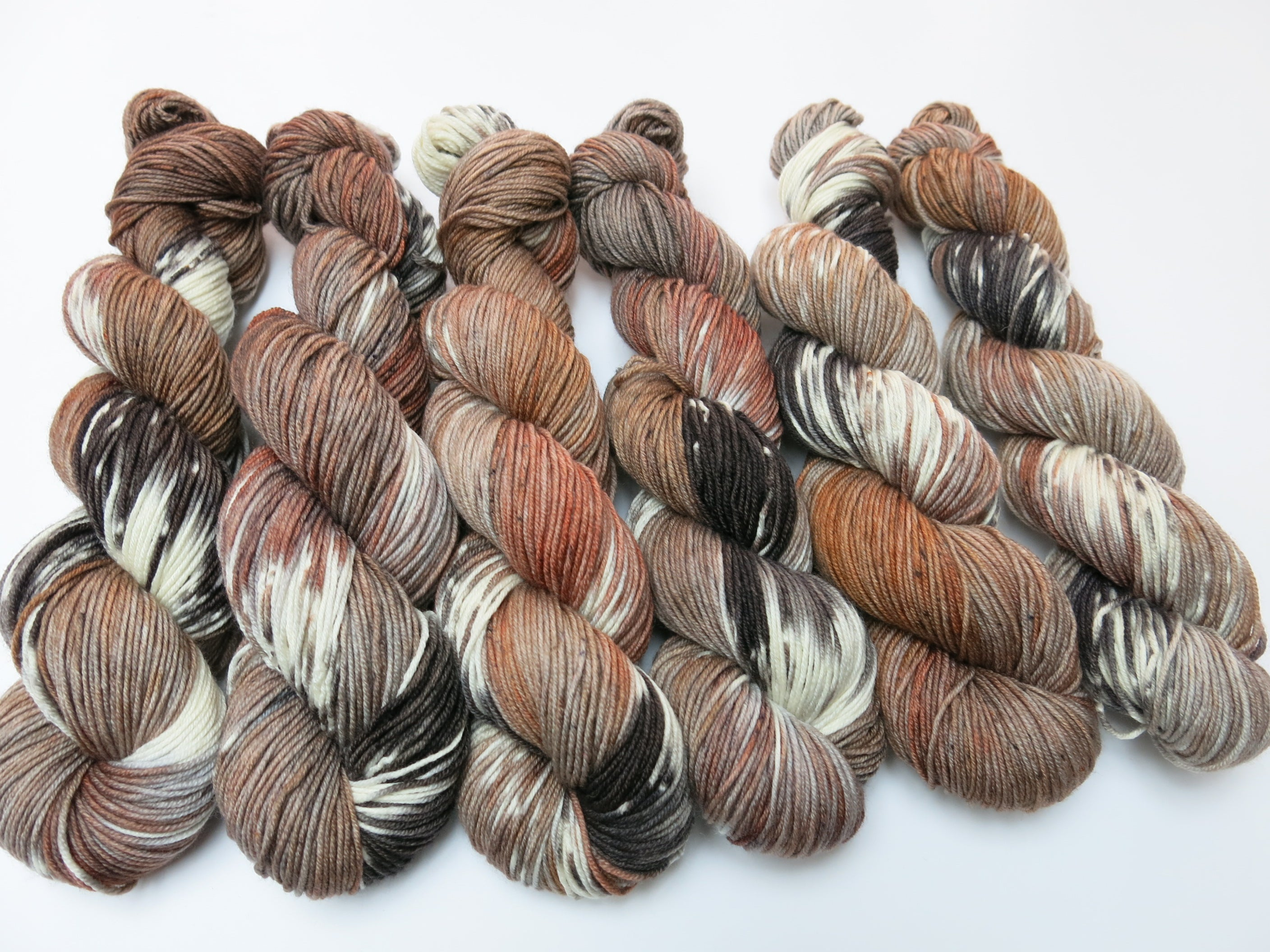 indie dyed brown and gray dk merino yarn