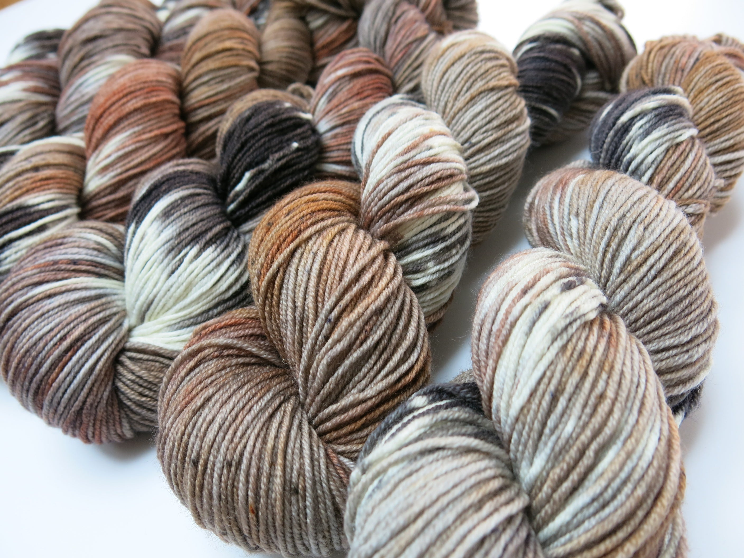 hand dyed nature inspired merino dk yarn skeins