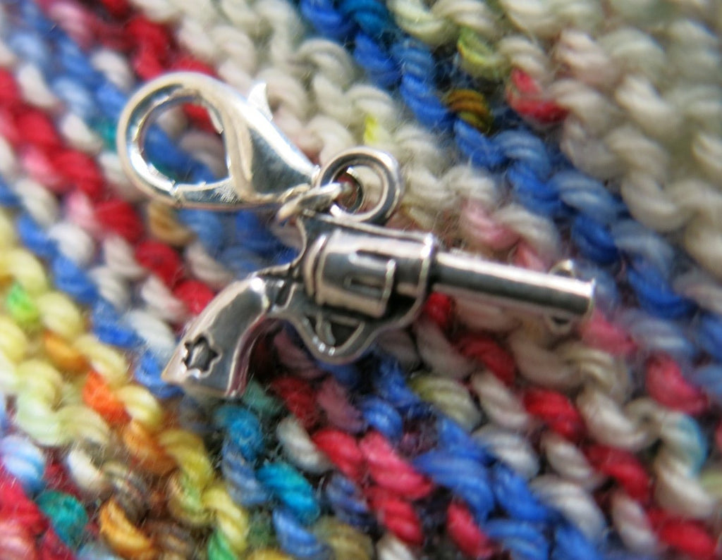 3d pistol charm for knitting or crochet projects and zipper pulls