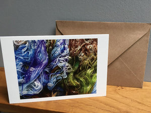 blue and green hand dyed yarn greeting card stationary set