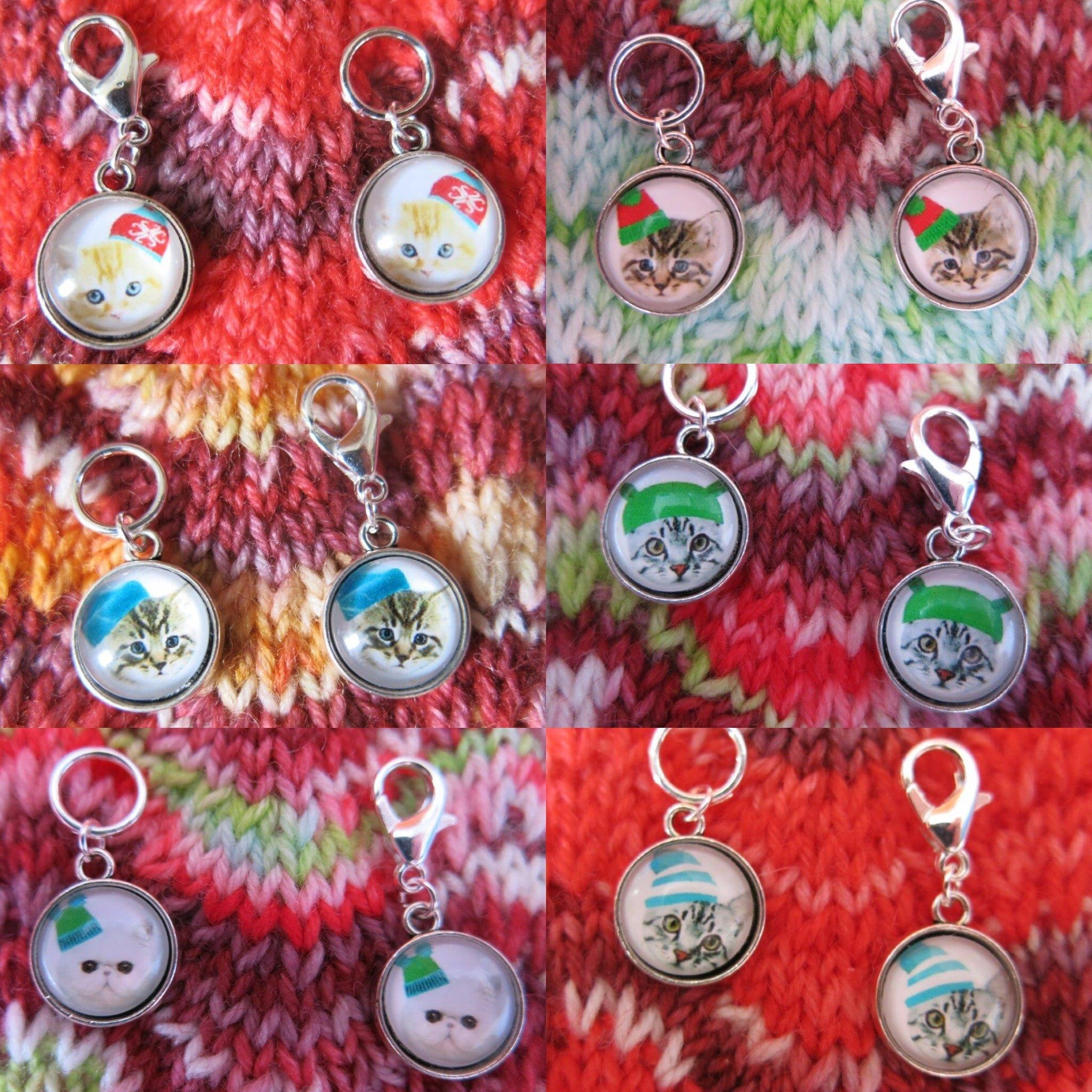 cat and kitten christmas stitch markers for knitting and crochet