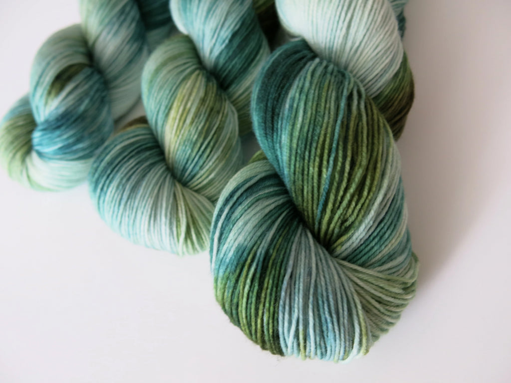 kettle dyed green and blue merino yarn for knitting and crochet