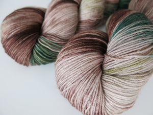 indie dyed yarn with brown and green for textile crafts