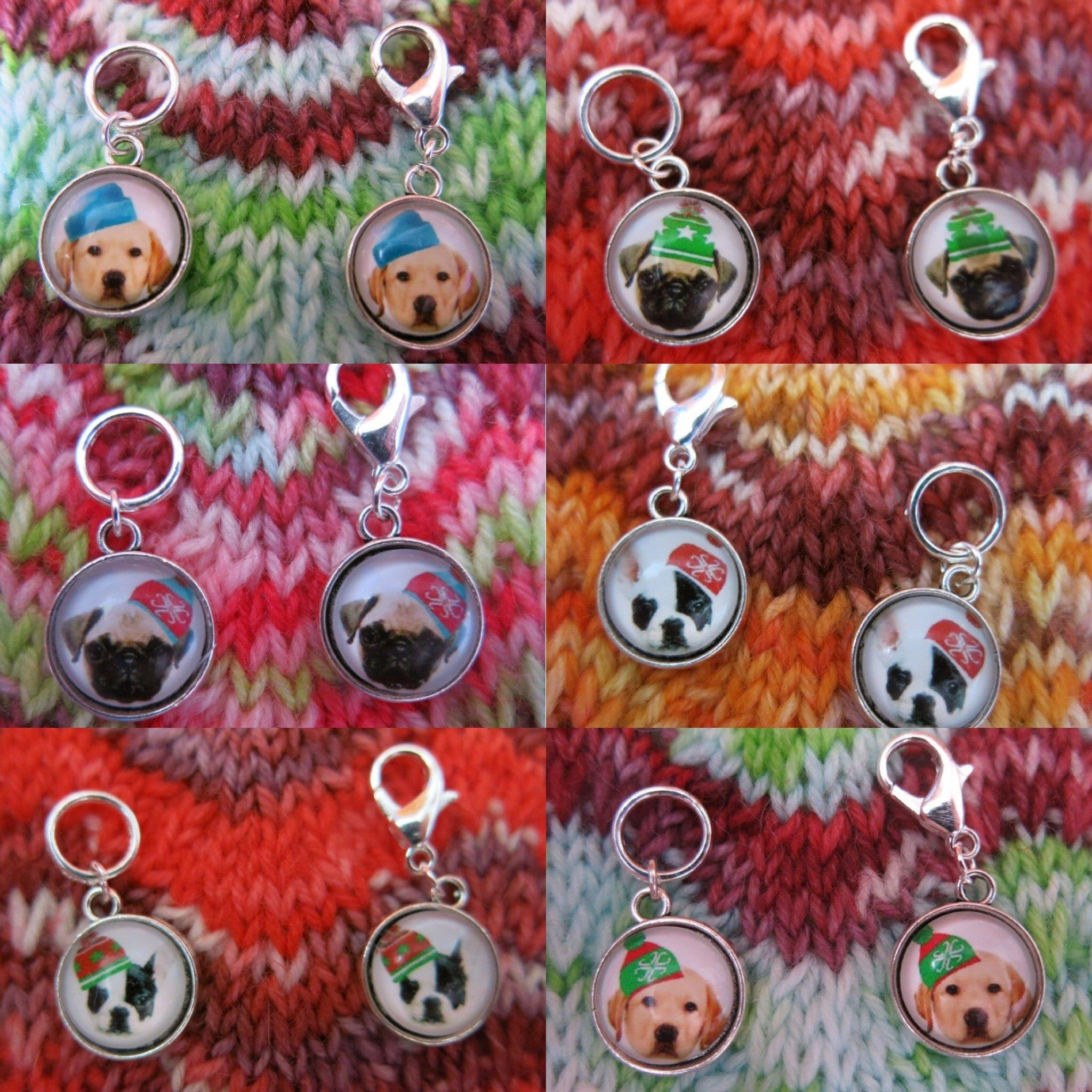 dogs in hats stitch marker place keepers for knitting and crochet