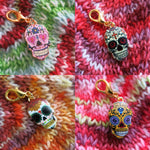 gold and enamel sugar skull charms for zipper pulls and bracelets