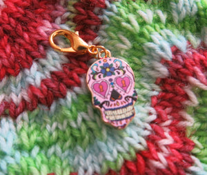 pink hearts sugar skull stitch marker charm for knitting