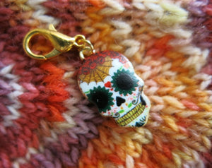 enamel day of the dead charm for knitting and crochet projects