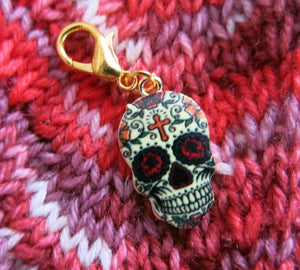 white cross sugar skull charm for bracelets and zipper pulls