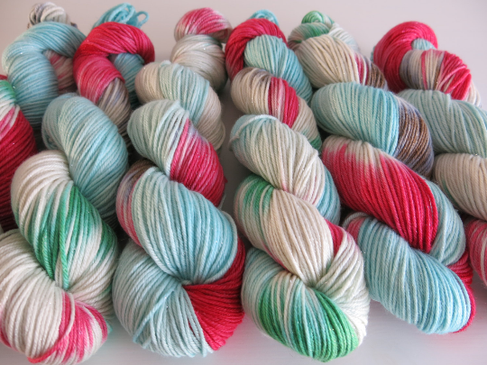 indie dyed yarn inspired by a christmas story