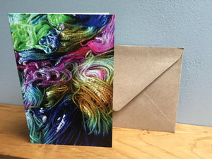 hand dyed yarn greeting birthday card stationary set
