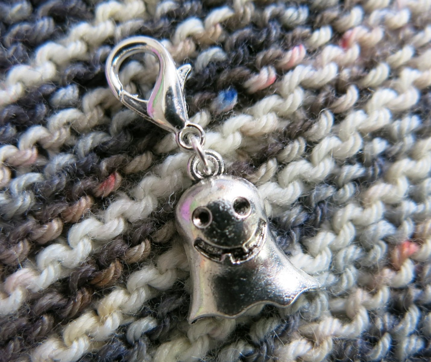silver ghost charm for bracelets, bags and knitting projects