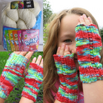 home dyeing koolaid glove kit with yarn, dye and pattern