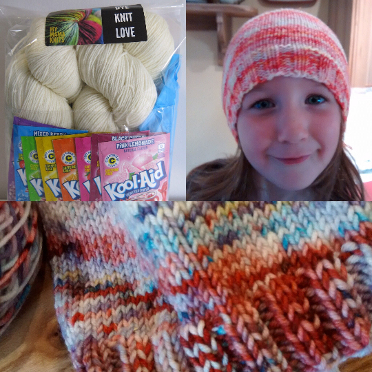 home dyeing koolaid hat kit with yarn, dye and pattern