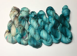 Six Skein Single Batch Set 268 on Superwash Merino 4ply Sock Yarn