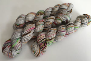 hand dyed speckled zombie sock yarn mini skeins