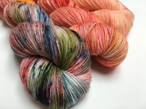 indie dyed speckled orange fade set with three skeins