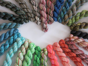 25 Colour Mini Skein Set on Choufunga Sock for Shawls and Advent KALs