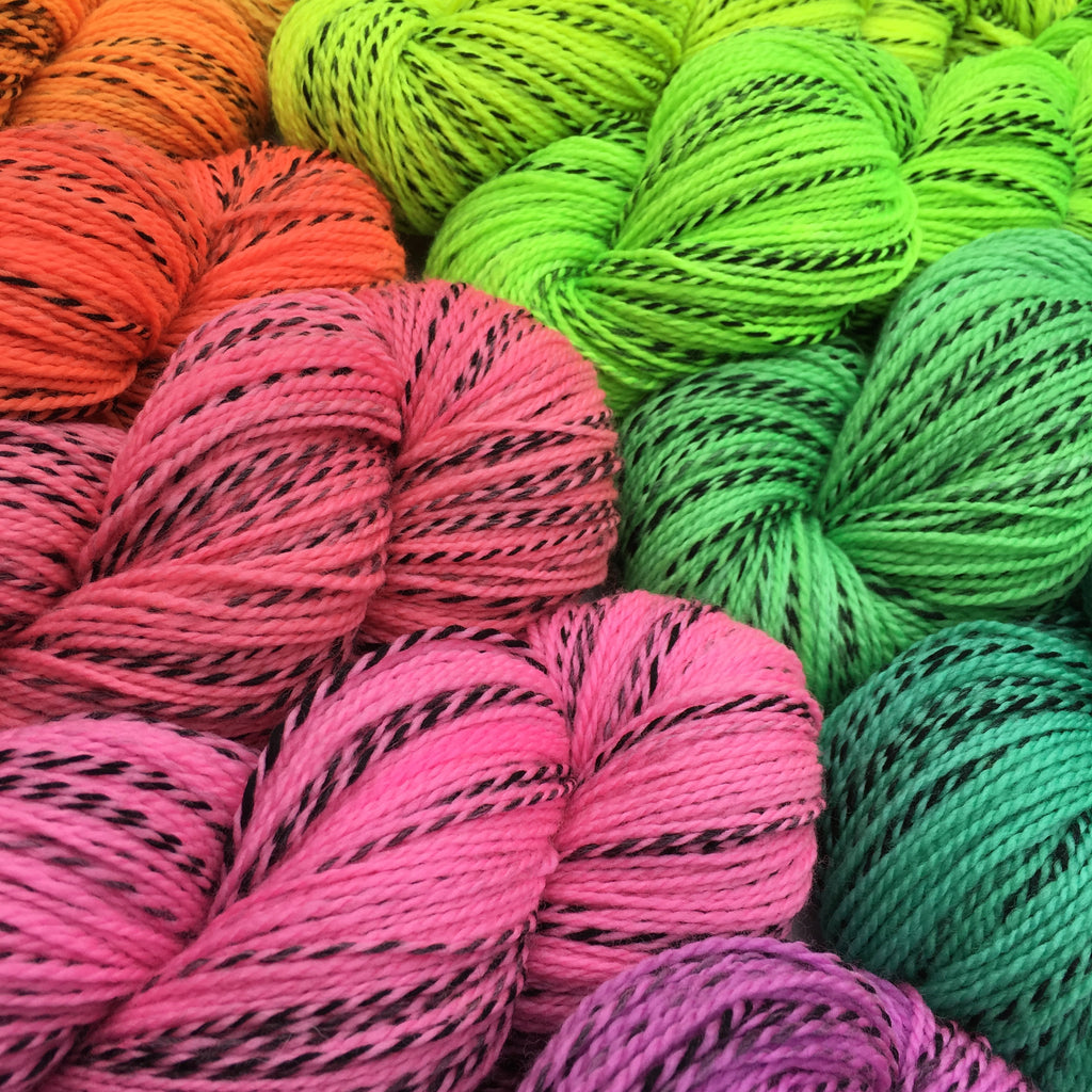 UV Party Neons on Tiger Sock - 100g Skeins