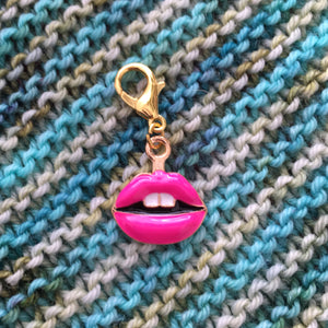 pink enamel lips charm on a hanging lbster clasp for knitting and crochet