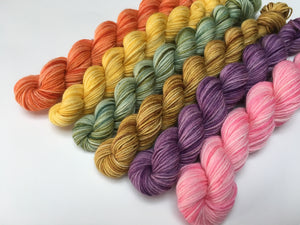 hand dyed 20g pastel tonal merino mini skeins for knitting socks