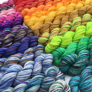 2020 Brights - 24 Colour Mini Skein Set on Choufunga Sock for Shawls and Advent KALs