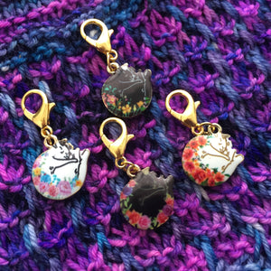 Cat Nap in the Flowers Stitch Marker Set or Clasp Place Keepers