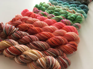 indie dyed speckled rainbow mini skein set of 25