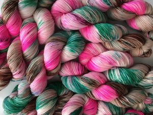 hand dyed pink and brown yarn pink azeleas