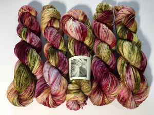 red and green sock yarn inspired by little shop of horrors