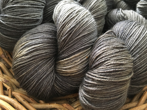 indie dyed tonal black and gray merino with nylon sock yarn