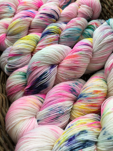 mad tea party hand dyed superwash merino sock yarn skeins