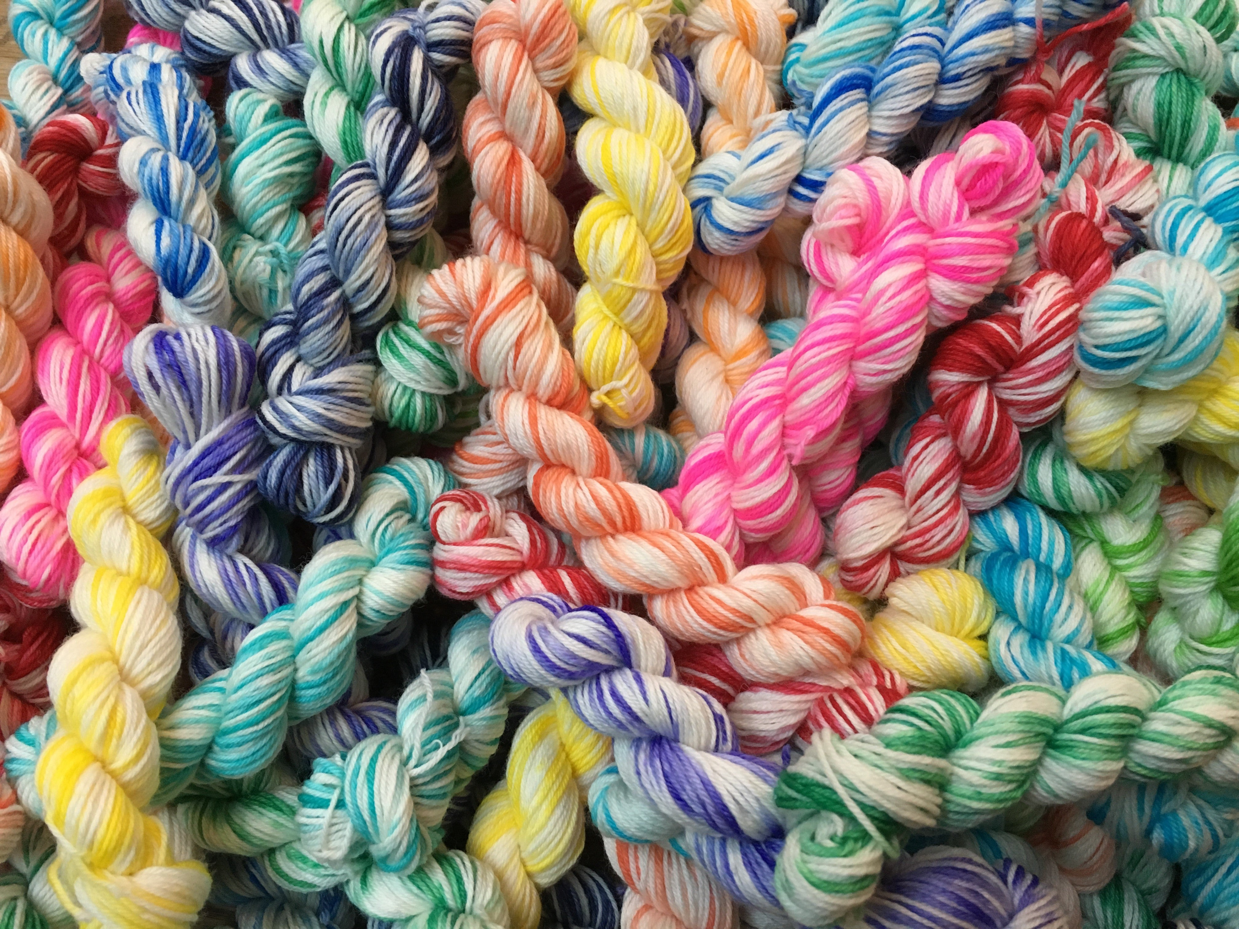 hand dyed rainbow merino and nylon sock yarn mini skeins