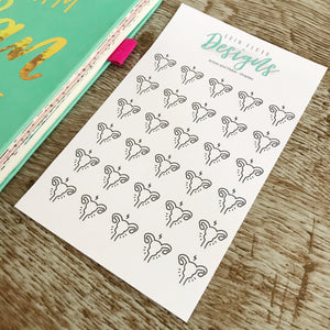 Ovary/Period - Aches and Pains Doodle Stickers