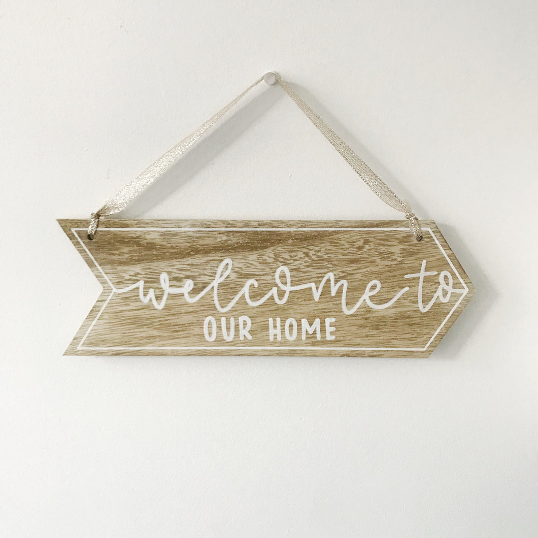 Rustic Welcome Home Arrow Wall Hanging | Hand Painted, Hand Lettered Arrow Sign