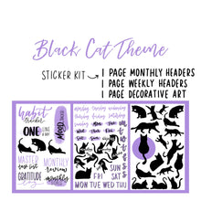Black Cat Theme Monthly Planner Sticker Kit for Bullet Journal
