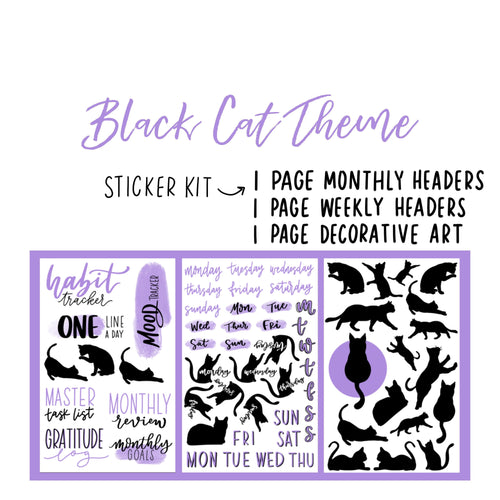 Black Cat Theme Monthly Planner Sticker Kits, Bullet Journal Sticker Kits, Stickers for Planners, Monthly Journal Stickers