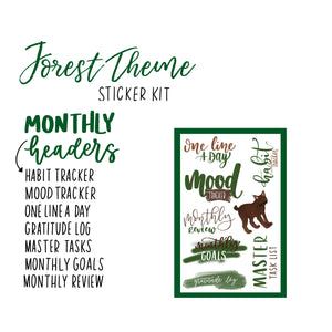 Simple Forest Theme Monthly Planner Sticker Kit for Bullet Journal